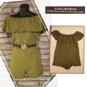 Khaki Green Ruffled Romper by Zara